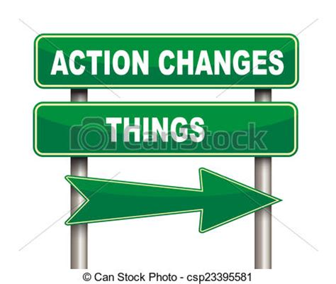 stock illustration of action changes things road sign