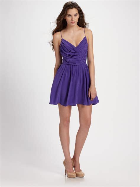 silk drape dress zimmermann ballerina silk drape dress in purple black lyst
