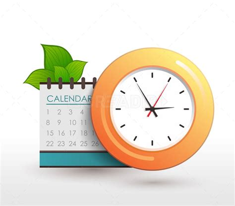 Calendar Clock Schedule Clock With Calendar And Leaves Creadib
