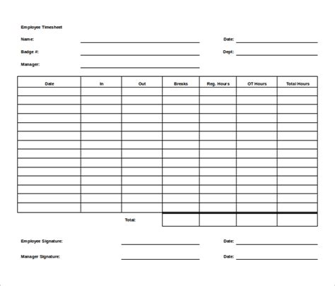 timesheet template word 11 ms word timesheet templates