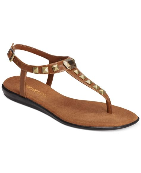 brown sandals aerosoles chlose together flat sandals in brown