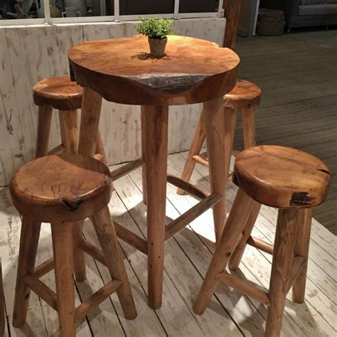 rustic pub table and chairs rustic teak pub table and teak stool five set