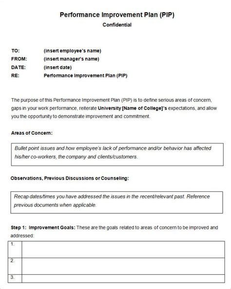 pip template performance improvement plan template helloalive
