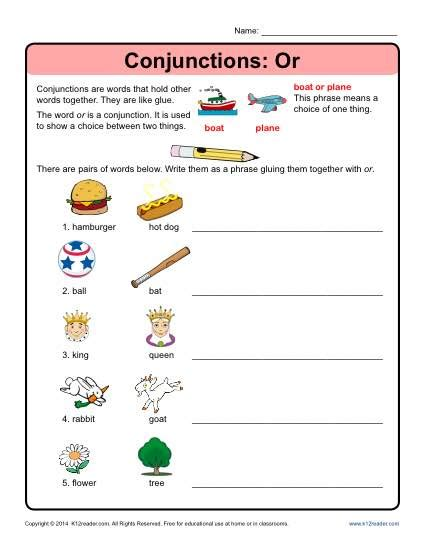 Conjunction Worksheets by Conjunctions Or Conjunction Worksheets