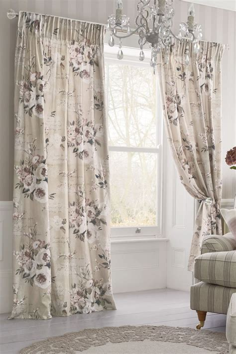 next online curtains buy mauve floral poetry printed pencil pleat curtains from