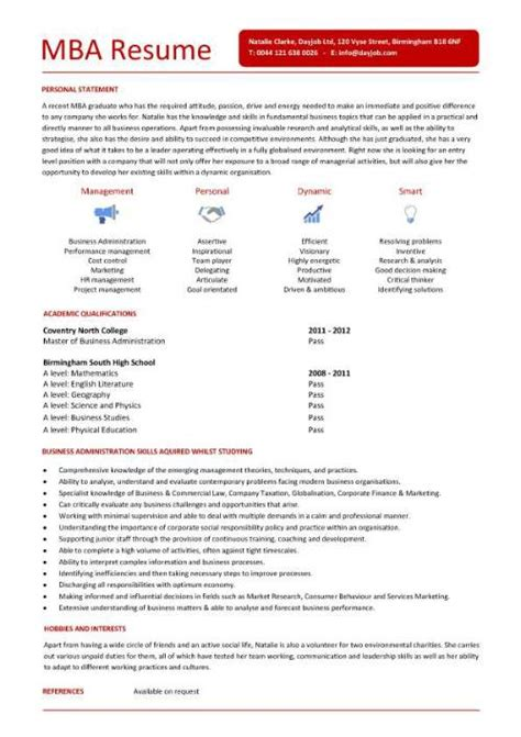 Cv For Mba Application by Student Resume Exles Graduates Format Templates