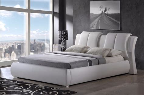modern king queen size leather platform bed frame w