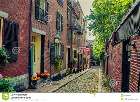 we buy houses boston narrow cobbled street and red brick houses in boston stock photo image 42799030