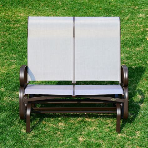 outsunny 2 person glider chair patio outdoor mesh