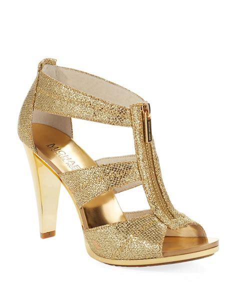 micheal kors high heels michael michael kors berkley t heels in metallic lyst