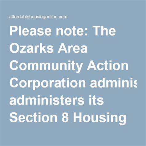 cities with open section 8 please note the ozarks area community action corporation