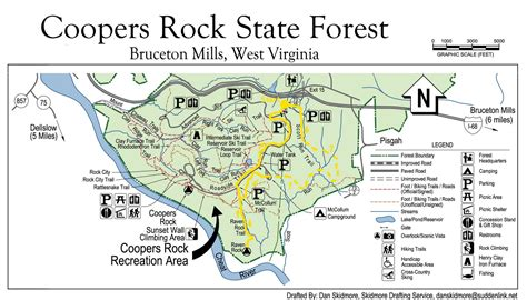 coopers rock state forest and map