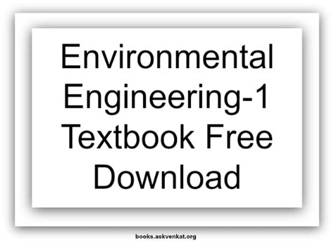 Free Mba Textbooks Downloads by Environmental Engineering 1 Textbook Free