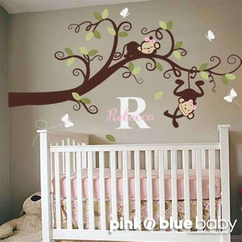 Baby Name Nursery Decor Monkeys On Branch With Custom Name Wall Decal Pinknbluebaby Housewares On Artfire