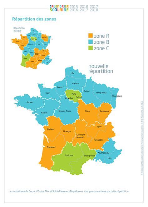 Zone Des Vacances Scolaires 2017 Nouvelle Carte Des Vacances Scolaires Zones Et