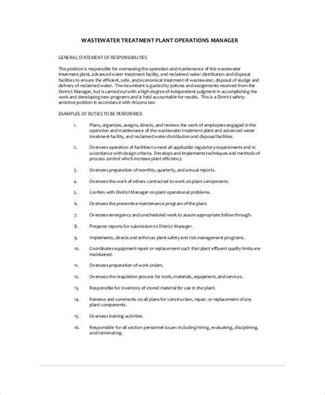 Plant Manager Description plant manager description sle 8 exles in word pdf