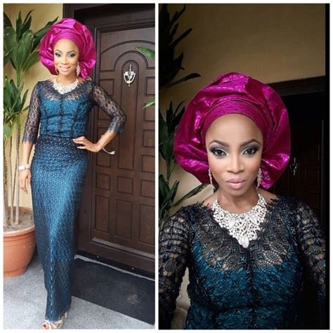 elegant lace iro and buba styles black lace iro and buba with blue lining pink gele