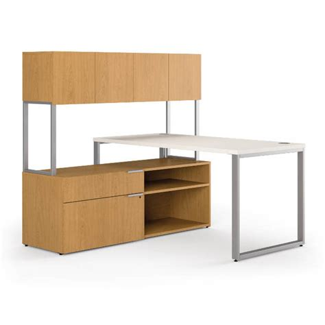 Storage Desk With Hutch Hon Voi 60in L Shaped Desk With Open Storage And Hutch
