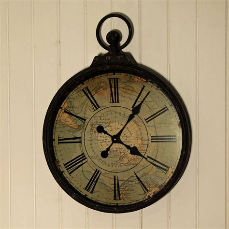 large wall clock antique style pocket watch large wall clock by jones and