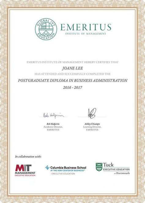 Tuck Mba Application Fee by One Year Executive Program In Business