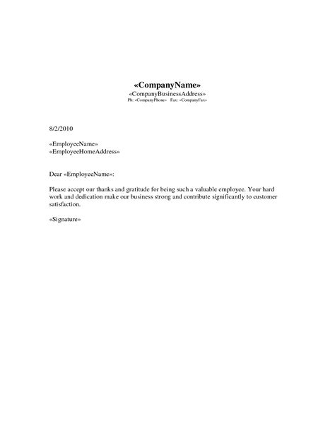 appreciation letter of employee employee appreciation letter sle the letter sle
