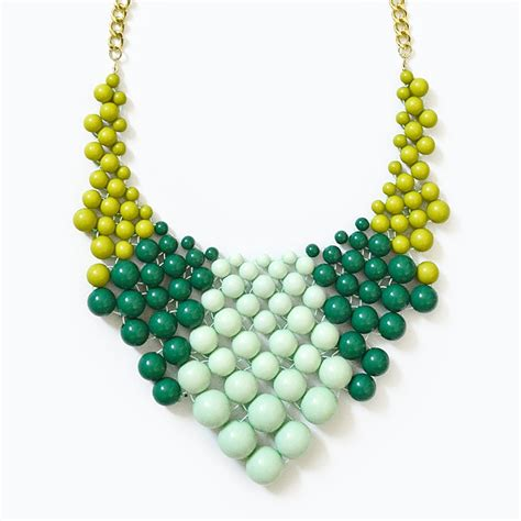 the bead jewelry color block bib chunky beaded necklace with green mint