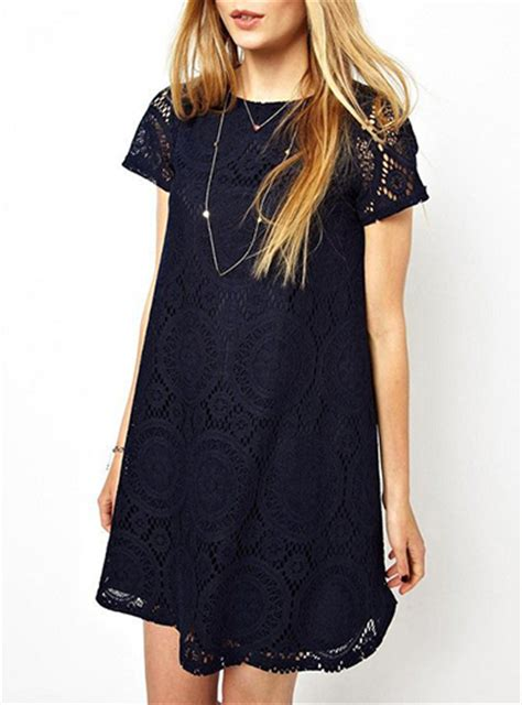 head swing style lace over shift dress short sleeve swing style dark blue
