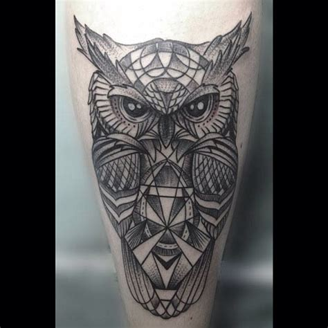 il bue tattoo owl geometric lines dots dotwork