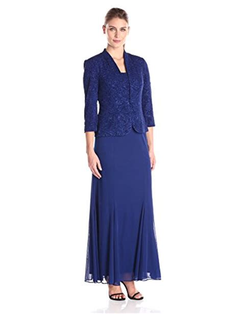 Alex Evenings Women?s Long Jacket Gown with Chiffon Skirt   All Evening Dress