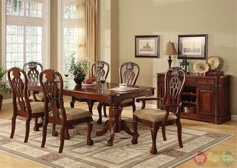 Formal Cherry Dining Room Sets George Town Cherry Formal Dining Set With Intricate Designs Cm3222