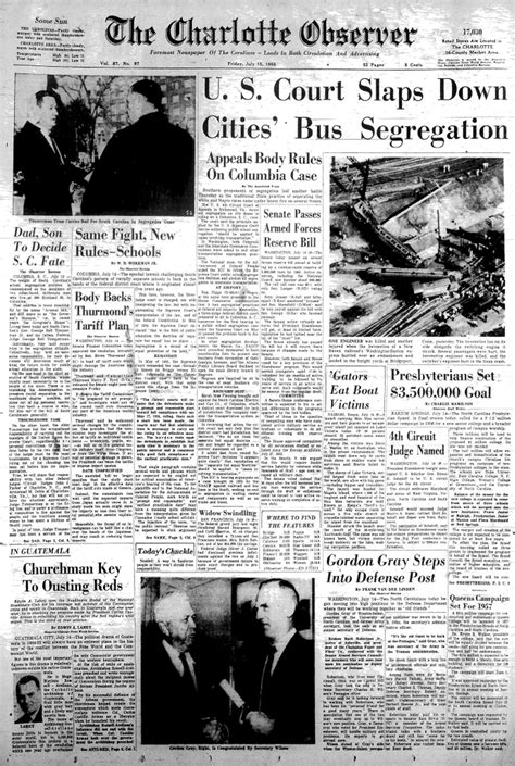 Retro Charlotte: Front pages, July 15 | The Charlotte Observer