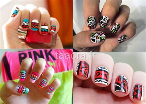 aztec pattern nail art nail art aztec taaora blog mode tendances looks