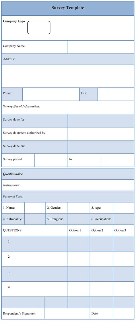 printable survey template free survey template format format of free survey