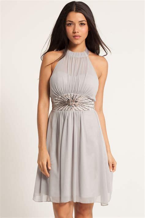 Dress Nevk grey chiffon embellished halter neck prom dress