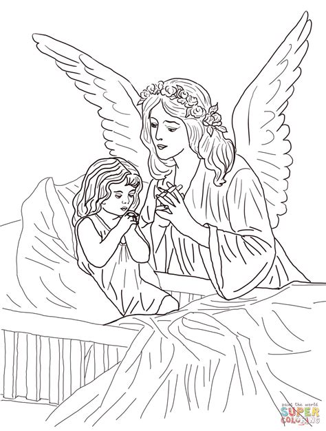 coloring book pages of angels guardian angel prayers coloring page free printable