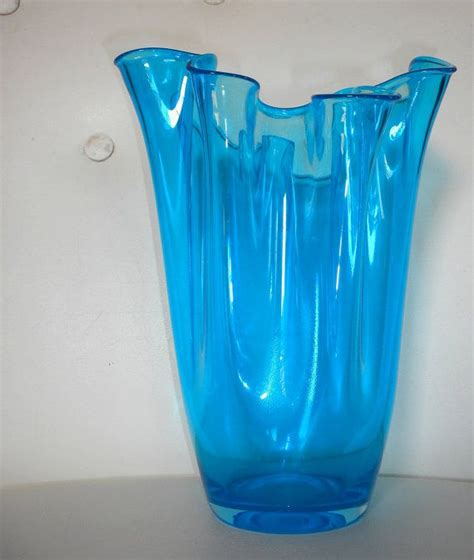 Handkerchief Vase by Vintage Glass Aqua Mediterranean Blue Handkerchief