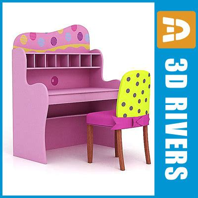 kid desk furniture kid computer desk chair furniture 3d 3ds