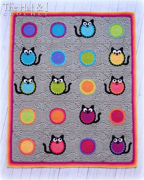 cat blanket pattern crochet pattern cat lover blanket a colorful cat