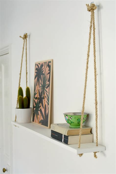 hanging selves diy easy rope shelf burkatron