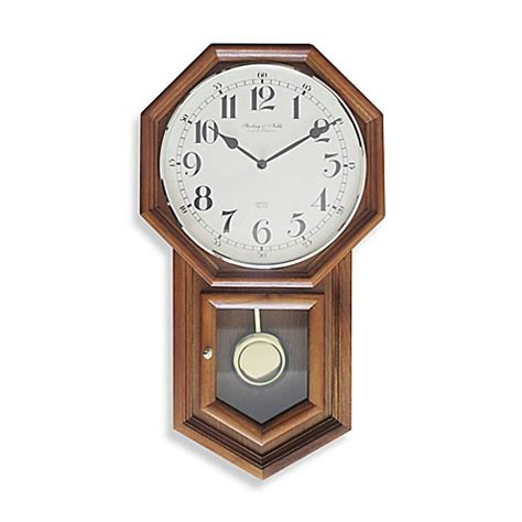 bed bath beyond clocks buy sterling noble traditional schoolhouse regulator wall clock in oak from bed bath