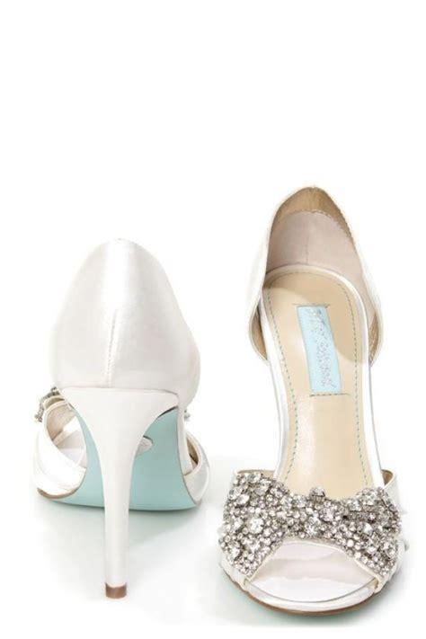 betsey johnson bridal shoes betsey johnson sb gown ivory satin rhinestone bow peep toe