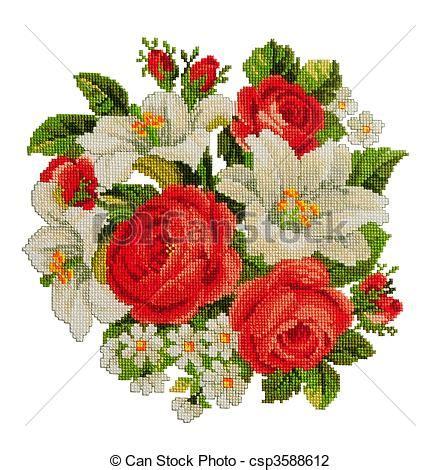 imagenes flores en punto de cruz stock fotos de flores un ramo de punto de cruz