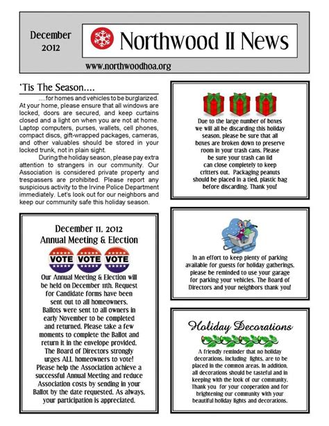 December 2012 Northwood Ii Nwii Hoa Community Association Newsletter Irvine Ca 92620 Hoa Community Newsletter Templates