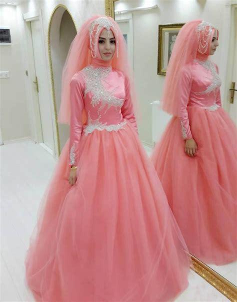 Muslim Pink princess muslim pink gown prom dresses islamic
