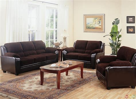 Living Room Sofas And Loveseats Monika Two Toned Brown Corduroy Casual Living Room Sofa And Loveseat Set