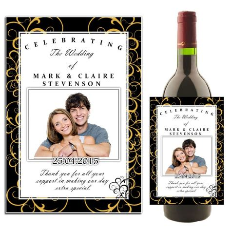 wedding wine bottle labels template personalised black gold swirls wedding celebration wine