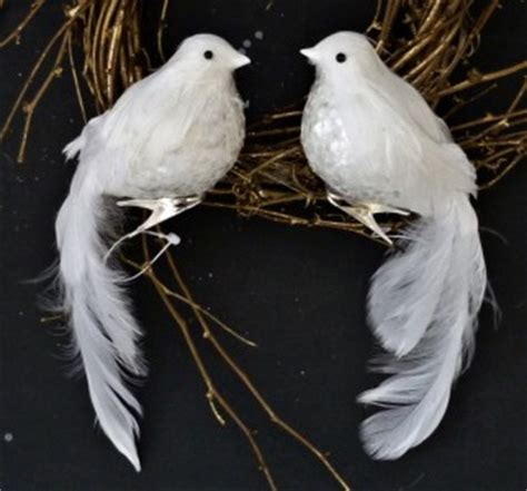 2 sequined breast winter white wedding doves feather