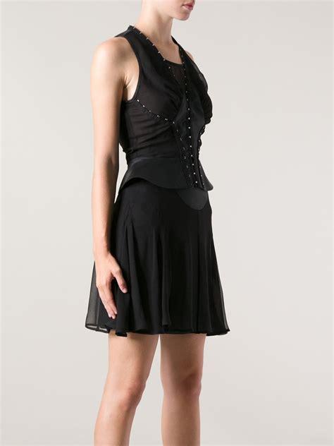 Bj 122 Leopard Dress With Belt Gray mcq hook and eye dress in black lyst