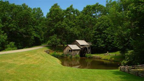field road river bridge water mill forest trees landscape
