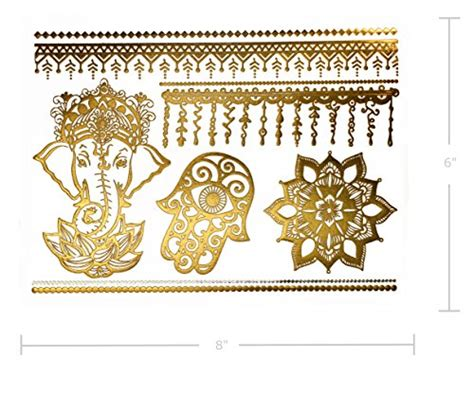 gold henna tattoo amazon temporary boho metallic henna tattoos 75 mandala